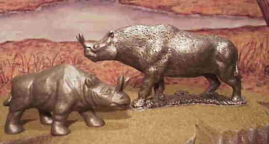 Brontotherium from Ral Partha metal figure line and Nabisco premiums.