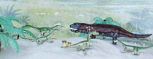 QRF provides 3 different Coelophysis. The QRF Postosuchus was painted by Stephen Robertson.