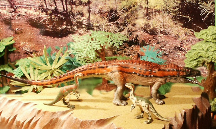 Toyway Postosuchus from the Walking with Dinosaurs series. K&M Coelophysis custom painted by Stephen Robertson.